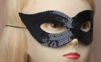 Black Sequin Catwoman Mask